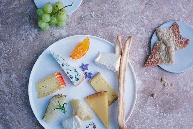 Köstlich angerichteter Käseteller mit Grissini