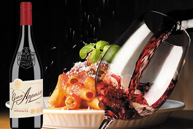 Bild Gran Appassito Wein mit Pasta